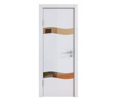 Дверная Линия ДО-503 Белый глянец зеркало бронза