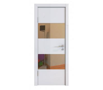 Дверная Линия ДО-508 Белый глянец зеркало бронза